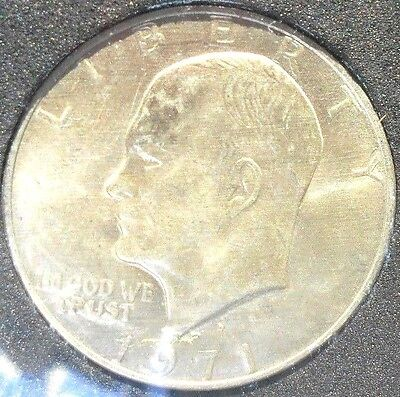 1971 Ike $ With Apollo 11 & Earth Overhead ++Rainbow luster developing++