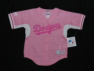 Los Angeles LA Dodgers Majestic Girls PreSchool Cool Base Pink Jersey
