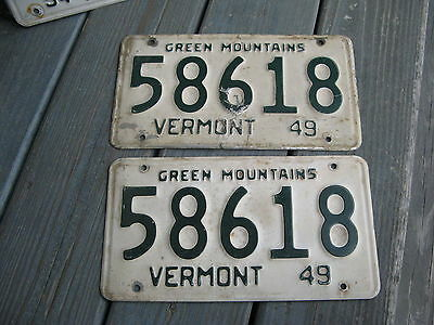 1949 49 Vermont Vt License Plate Nice Tag Rustic Olddie Buy It Now. Pair Nice