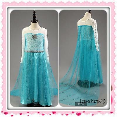 Frozen Queen Anna Elsa Dress Gown Costume Ice Princess Girl Size 6