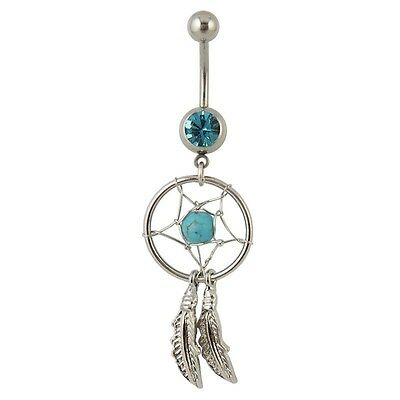 Sold Individually 14G Dream Catcher Woven Star Design with Bead and Feathers Navel Ring