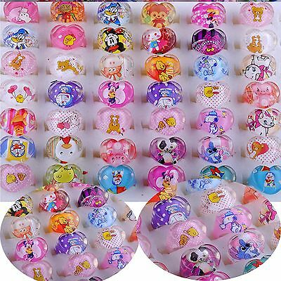 Wholesale 10/30/50PCS Jewelry Mixed Lots Resin Lucite Children Kid Rings Cartoon