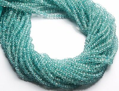 Natural Gemstone Aquamarine 3MM Micro Faceted Rondelle Beads Strand 13 Inch