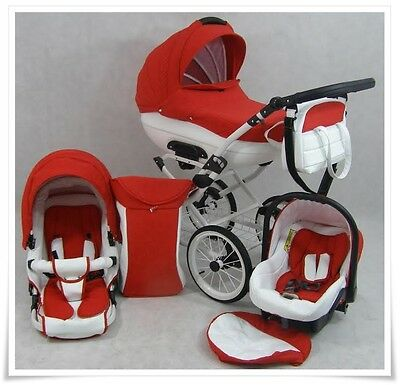 Baby PRAM CLEO RETRO LEATHER PUSHCHAIR + CAR SEAT - 3in1 - Stroller- 9 COLOURS