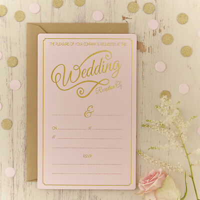 Pastel Perfection - Wedding Evening Invitations - Pink And Gold