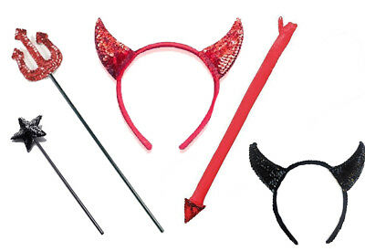 New Sequin Devil Horns On Headband/trident Fork/tail/set, Halloween Fancy Dress