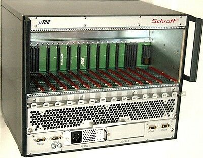 Schroff 11850-007 D-Shelf 9+2+2 Slot 84HP MicroTCA w/ Power Supply for AMC Doubl