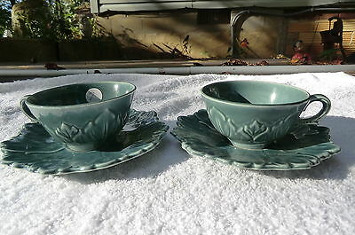 Steubenville Pottery Woodfield Seafoam Cups & Saucers