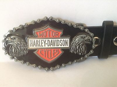 "Harley Davidson Buckle & Belt (All Sizes 30"" – 50"") Dual Eagle Design"