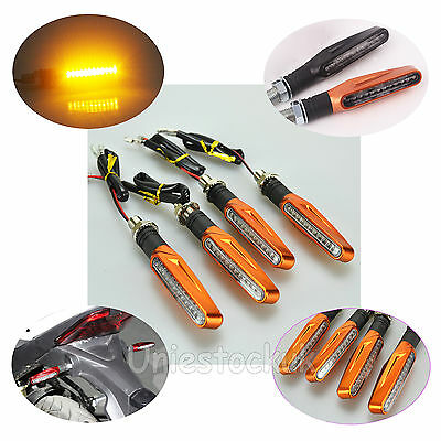 4x 12LED Orange Amber Turn Signal Indicators Motorcycle/Bike/Motorbike Universal