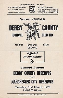 DERBY COUNTY v MANCHESTER CITY RESERVES ~ 31 MARCH 1970