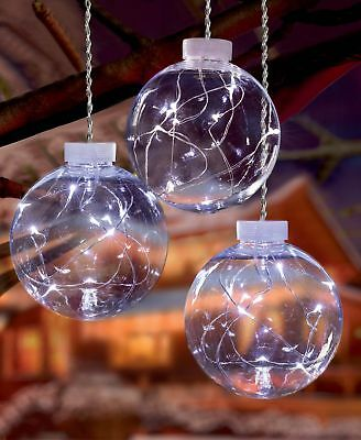 Set of 3 Light Up Christmas Bauble Globes with 10 Cool White Pin Wire LEDs