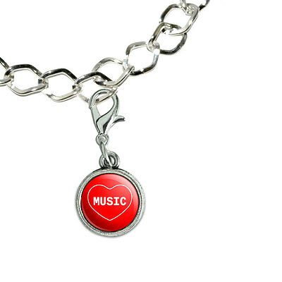 Silver Plated Bracelet with Antiqued Charm I Love Heart Sports Hobbies M-N