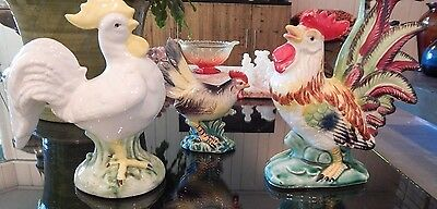 Vintage Lot of 3 Ceramic Handpainted Rooster Figurines Nikoniko Imports & Italy