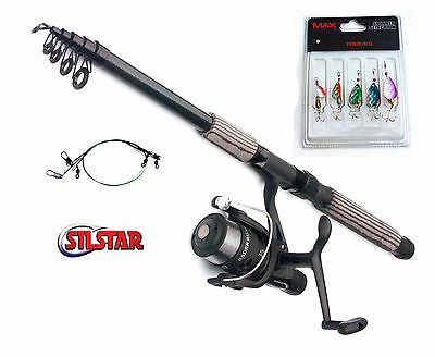 Silstar Radar Reel & CARBON Telerod Spinning combo Choose from 7ft to 12ft rods