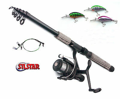 Silstar Radar Reel & CARBON Telerod Plug combo Choose from 7ft to 12ft rods
