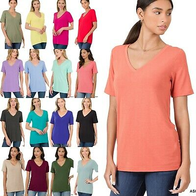 Women's Scoop Neck Elbow Cuff Sleeve T-Shirt Soft Stretchy Cotton Tee Top GT3053