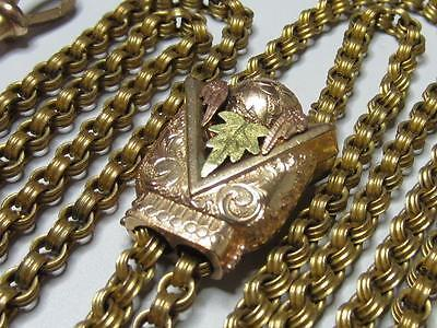 Antique Heavy Gold Filled Fancy Rolo Link Large Rose Gold Sautoir Slide Chain