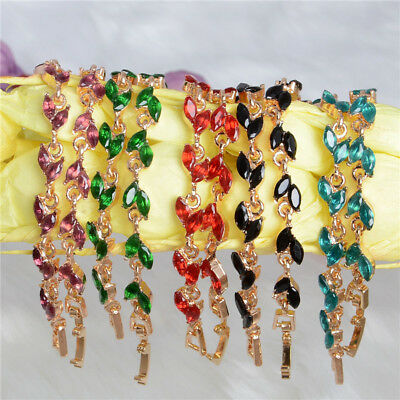 New Fashion 18k Yellow Gold Plated Austrian Crystal Women Bracelet Bangle Cuff