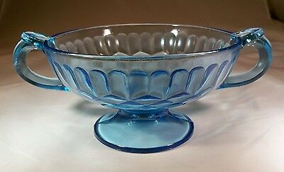 U.S. GLASS CO. AUNT POLLY BLUE HANDLED FOOTED CANDY DISH or BOWL!