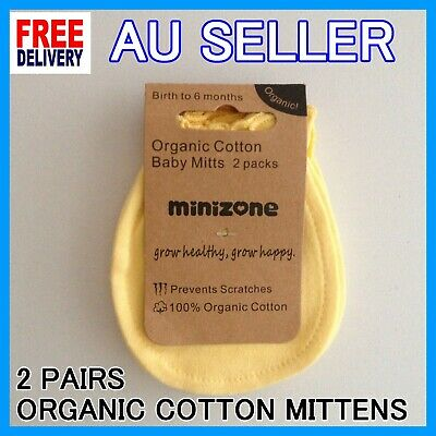 2 Pairs 100% Organic Cotton White Baby Newborn Mittens Gloves for Boys and Girls