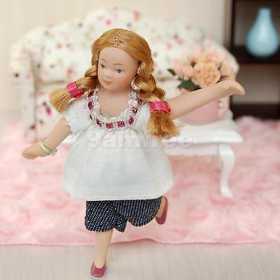 Dolls House Miniature Figure 1:12 Scale People Little Girl in White T-shirt