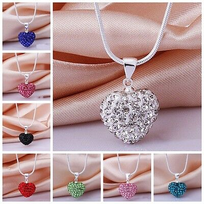 Women's Fashion Crystal Heart Silver Plated Snake Chain Pendant Necklace Jewelry
