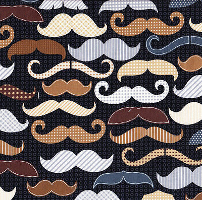 Funky Moustaches Mens Mustaches on Black Quilt Fabric FQ or Metre *New*