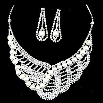 Wedding Necklace and Earring Set Crystal Rhinestone Pearl Bridal Jewelry Set