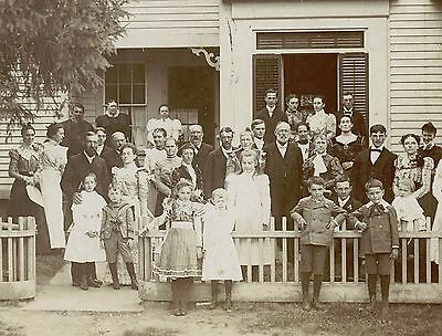 Victorian Family, Children Posing  In Front Of House & Original Antique Photo