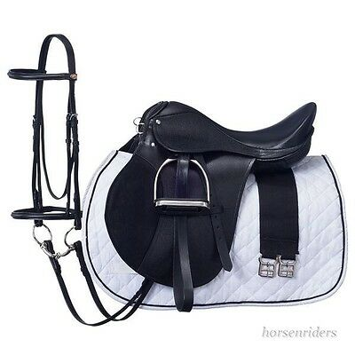 19 Inch All Purpose English Saddle Package - Black - All Leather - Regular Tree