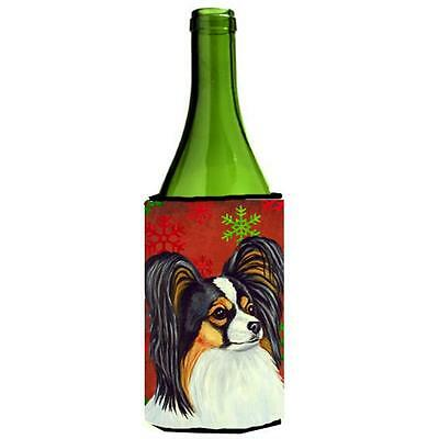 Papillon Red and Green Snowflakes Holiday Christmas Wine Bottle Hugger