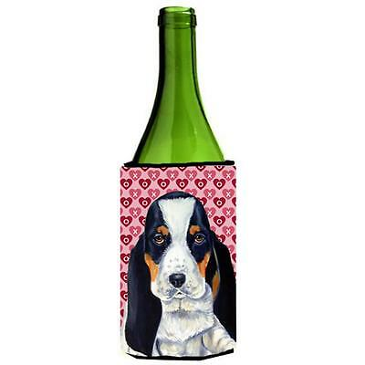 Basset Hound Hearts Valentines Day Portrait Wine Bottle Hugger 24 oz.