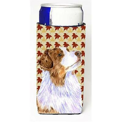 Australian Shepherd Fall Leaves Portrait Michelob Ultra s for slim cans