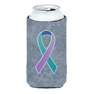 Teal Pink and Blue Ribbon for Thyroid Cancer Awareness Tall Boy bottle sleeve...
