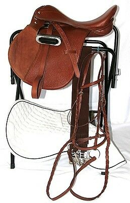 17 Inch All Purpose English Saddle Package - Medium Chestnut - All Leather