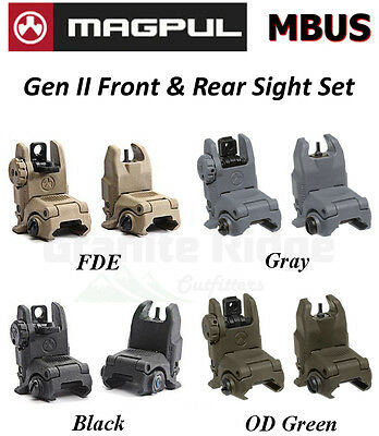 Magpul MBUS Gen 2 Sight Set Front & Rear Sights MAG247 & MAG248 Flip Up BUIS NEW