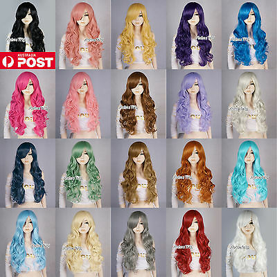 Women's Long Curly 70CM Blue/Green/Orange/Grey/Brown Fashion Party Cosplay Wig