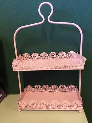 Rectangle Pink Laser Cut Metal 2 Tier Cake Stand