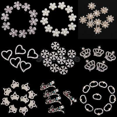 Rhinestone Flower Pearl Buttons Flatback Embellishments Phone Scrapbooking Decor