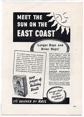 """GENUINE 1930`s Advertisement, well collectable. """"L.N.E.R. - East Coast"""", (1939)"""