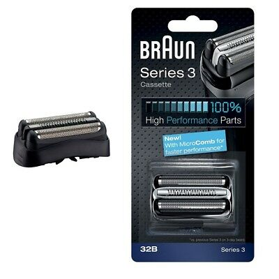 Braun NEW 32B Black Key Part Replacement Foil and Cutter Cassette with Microcomb
