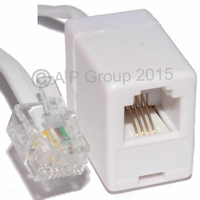 1m RJ11 Extension Cable Male / Female Broadband Internet Modem Router ADSL WHITE
