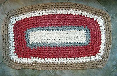 Vtg Crocheted Rug 41 by 25 Country Rag Throw Handmade Folk Art Red White Blue