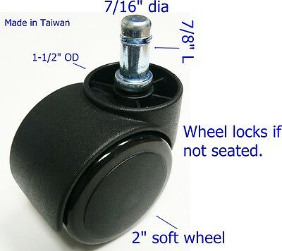 "Oajen 2"" soft wheel chair caster, hardwood floor, auto lock, 5 pcs, safety"