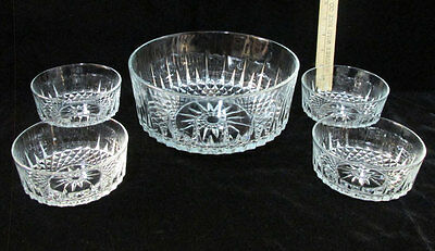 Vintage Set 5 Arcoroc France Berry Dessert & Serving Bowls Glass Diamond Star