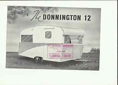 Donnington 12 Caravan Sales 'brochure'/sheet @ 1960 Including Prices