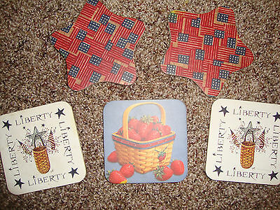 Lot 5 Longaberger All American Old Glory Coasters Cork Flag Strawberry Red Blue