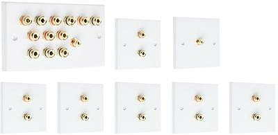 Complete 6.1 SOLDER-LESS White Speaker Audio Wall Face Plate kit Banana Plugs