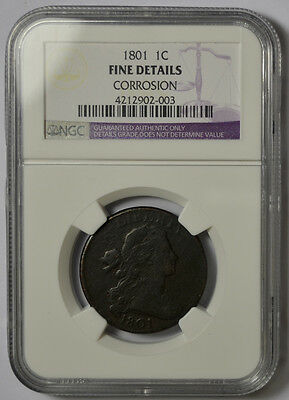 1801 Draped Bust One 1 Cent. Large. NGC Fine Details